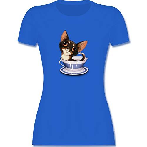 Hunde - Teacup Chihuahua - XL - Royalblau - Kurzarm - L191 - Tailliertes Tshirt für Damen und Frauen T-Shirt