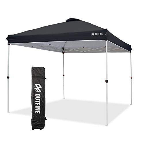 OUTFINE Pop-up Canopy 10x10 Patio Tent Instant Gazebo Canopy with Wheeled Bag,Canopy Sandbags x4,Tent Stakesx8 (Black, 1010FT)
