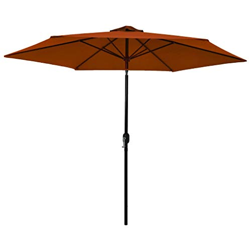 vidaXL Sonnenschirm mit Metall-Mast Gartenschirm Strandschirm Marktschirm Balkonschirm Ampelschirm Schirm Terrasse Terracotta-Rot 300cm