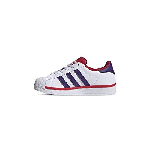 adidas Originals Superstar FV3664 - Zapatillas de deporte para niños, de piel, color blanco, morado y rojo, color Blanco, talla 30.5 EU