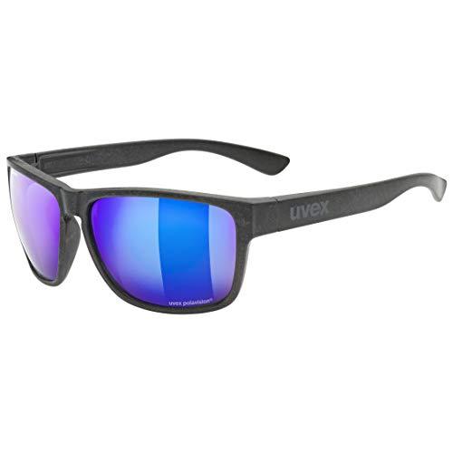 uvex lgl Ocean P Gafas de Sol, Unisex-Adult, Black Mat/Blue-Blue, One Size