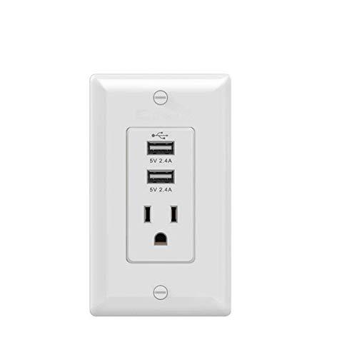 XHHWZB Steckdose mit USB-Hochgeschwindigkeitsladegerät 4.2A-Ladefähigkeit, Kindersicherung Duplex-Steckdose 15 Amp, Manipulationssichere Steckdosenplatte Mit UL-Zulassung
