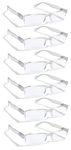6 Pack Reading Glasses by BOOST EYEWEAR, Clear Half Rim Frames, for Men and Women, with Comfort Spring Loaded Hinges, Clear, 6 Pairs (+1.50)