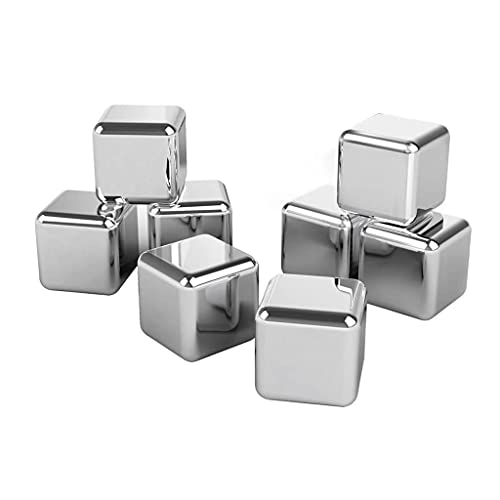 Stainless Steel Ice Cubes Reusable Whiskey Stones Steel Ice Cubes with Tong and Storage Package Box, for Whiskey, Gin, Vodka, Wine and All Drinks, 8 Pcs