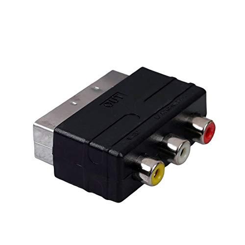 PSBasics Scart Adapter | Audio Video Cinch zu Scart | AV Adapter Stecker TV Spielkonsolen