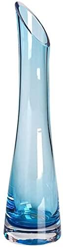 XIAOZHEN Jarrón Hermosas artesanías Vidrio Jarrón Salón Salón Comedor Jarrón Obliculio Botella Cuello Fino Cintura Jarrón Crystal Clear Jarrón (Color : Blue)