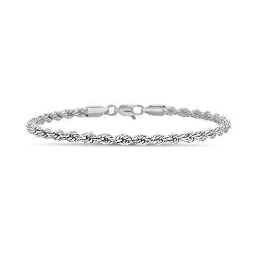 Nautica 2mm - 8mm Rope Chain Bracelet for Men or Women in Rhodium Plated Brass