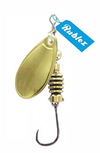Rublex - Pack de 5 Cucharillas de Pesca Celta-2 Oro | Cebo Artificial de Pesca con Anzuelo Simple sin Muerte Fácilmente Intercambiable con Sistema Quita-Vueltas, Color Oro, 3'5gr