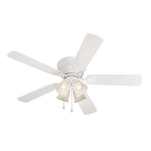 Harbor Breeze Centreville 52-in White Indoor Flush Mount Ceiling Fan with Light Kit