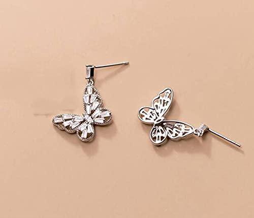 LOt S925 Pendientes de Mariposa de Diamantes Estilo Bosque de Plata para Mujer Joyería de Oreja Corta de Estilo Literario Coreanoplata, S925 plata