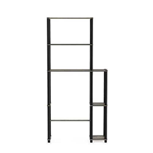 Furinno Turn-N-Tube with 5 Shelves Toilet Space Saver, French Oak Grey/Black