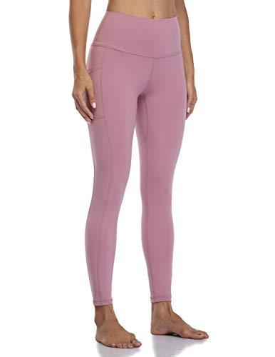 Colorfulkoala Women's High Waisted Yoga Pants 7/8 Length Leggings with Pockets (S, Mauve Pink)