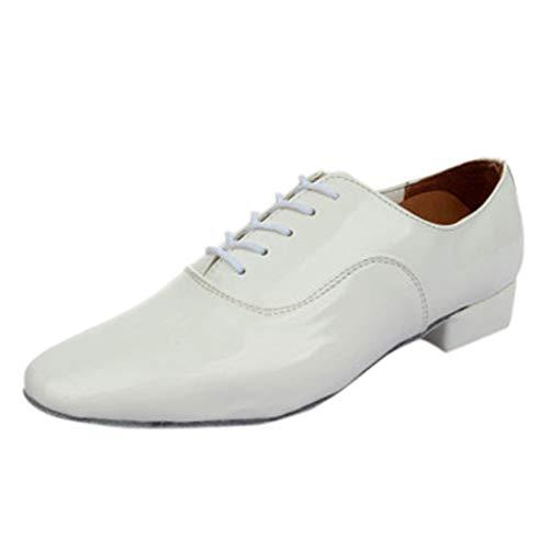 Dasongff Herren Tanzschuhe Schwarz Weiß, Männer Schnürung Leder Farbe Latein Ballroom Tango Dance Schuhe Standard & Latein