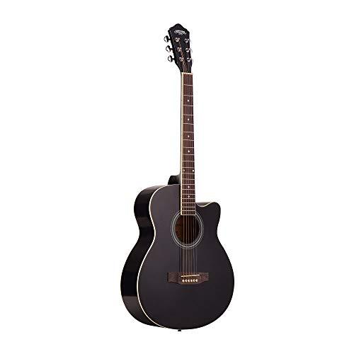 ABMBERTK 40-Zoll-Akustikgitarre Cutaway Akustik-Folk-Gitarre, mit Strap Gig Bag, Capo, Picks, 6-Saiter Basswood-Gitarrenzubehör, 38 Zoll schwarz