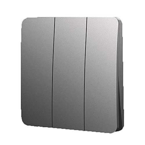Yoaodpei Panel de Interruptor Simple Gris 10A-250V Elegante Arco Diseño Delgado Sala de Estar Dormitorio Tipo 86 Interruptor basculante Oculto