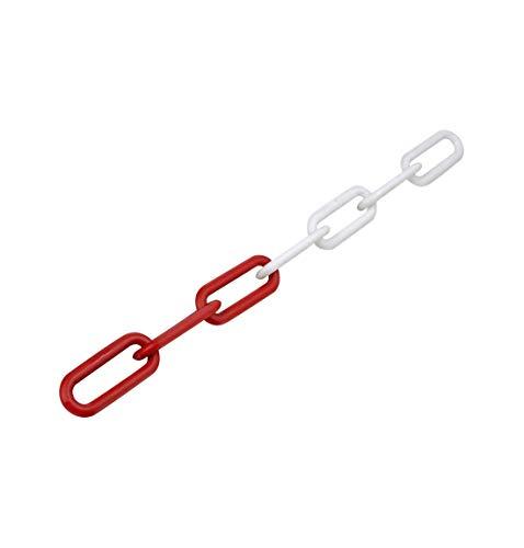 Absperrkette aus Stahl, rot/weiß, Länge 10 m, Ø 6 mm