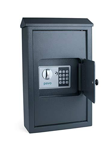 Onwiga Pora Schlüsselkasten Outdoor + Fingerabdruck+ elektr. Schloss Schlüsselschrank Tresor (Outdoor 50 Haken, Grauschwarz)