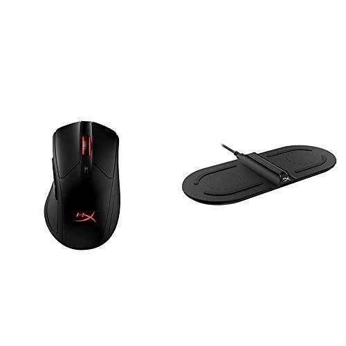 HyperX HX-MC006B Pulsefire Dart - Kabellose RGB Gaming Maus, Softwaregesteuerte Anpassung, 6 Programmierbare Knöpfe + ChargePlay Base - Qi-Zertifiziertes kabelloses Ladegerät, Dual Pad