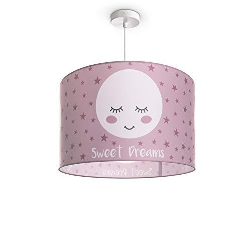 Paco Home Luminaria Infantil De Techo LED Suspendida Dormitorio Infantil Motivo Luna E27, Pantalla de lámpara:Rosa (Ø45.5 cm), Tipo de lámpara:Lámpara Colgante Blanco + Bombilla