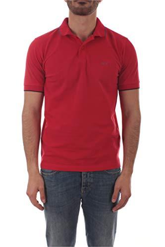 SUN 68 Polo Small Stripe ON Collar da Uomo Rosso Fuoco, A30106