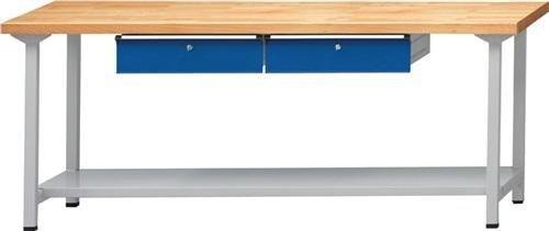Anton Kessel GmbH Werkbank V B2000xT700xH840mm Buche massiv lichtgrau enzianblau Anz. Schubl. 2