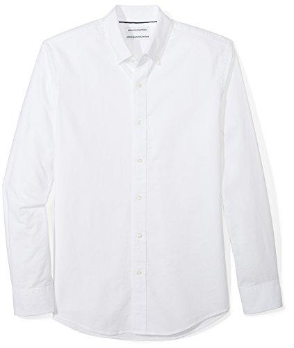 Amazon Essentials Slim-fit Long-sleeve Solid Oxford Shirt, Uomo, Bianco (White), X-Small (Taglia Produttore: )