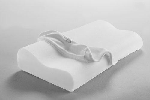 Dormisette Q995, Almohada para el Apoyo del Cuello viscoelástica y Lavable, Transpirable, de 61 x 32 x 8.5-11 cm, Blanca