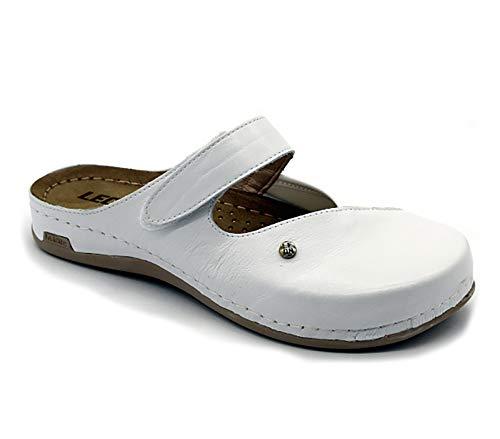 LEON 953 Zuecos Zapatos Zapatillas de Cuero para Mujer