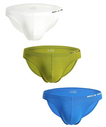 BRAVE PERSON Fashion Sports Underwear Low Waist Swim Briefs for Men B1129 (XL, White/Green/Blue)