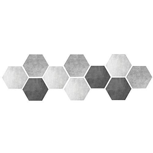 Deror Pegatina 10 Piezas Impermeable Antideslizante Hexagonal Autoadhesivo azulejo de cerámica Pegatinas de Suelo de Pared decoración del hogar