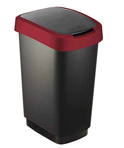 """Rotho """"Twist' – Cestino per la carta in plastica (PP) in nero/rosso con coperchio basculante o ribaltabile, 25 litri - 33.3 x 25.2 x 47.6 cm"""