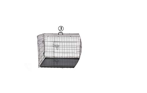Domestic Delivery Pet Dog Cage House Solid Crate Double-Door Kennel Collapsible Easy Install 4Size Dog House for Small Large Dog,Black,M,Germany