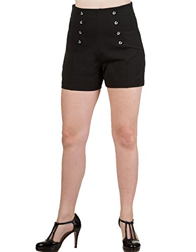 Banned Dancing Days by Damen Rockabilly Pin Up Shorts Hohe Taille - Stay Awhile Kurze Hose Schwarz L