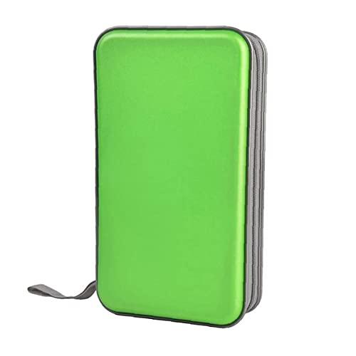 Allwiner Bolsa de CD CD Holder Caja de la Carpeta de DVD DVD Carpeta del Organizador del almacenaje de plástico Duro 80 Capacidad Verde Portable, Caja de Discos