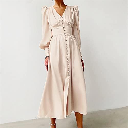Vestido de una sola pecho de cintura alta de cintura satinado Vestido largo V Vestidos de mujer Vestidos de la linterna de manga (Color : Beige, Size : X-Large)