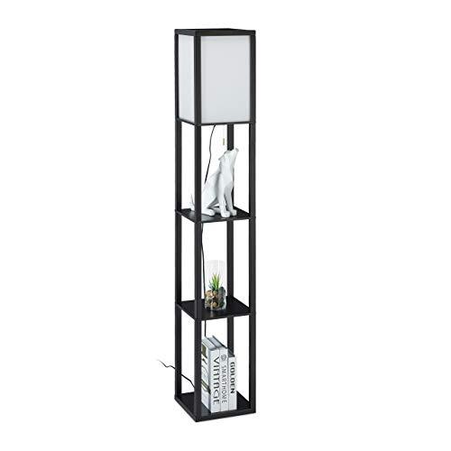 Relaxdays Lámpara de pie con estante, 161 x 26 x 26 cm, casquillo E27, madera y acrílico, diseño moderno, color negro 10034462