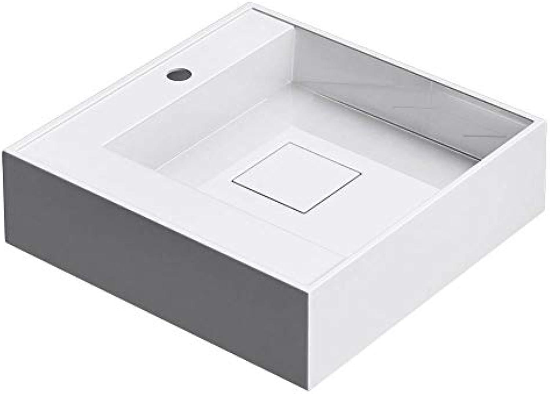 Sogood 50x50x12cm Design Aufsatzwaschbecken Colossum21-R aus Mineralguss eckige Form Beckentiefe Rechts Waschschale auch als Hngewaschbecken verwendbar