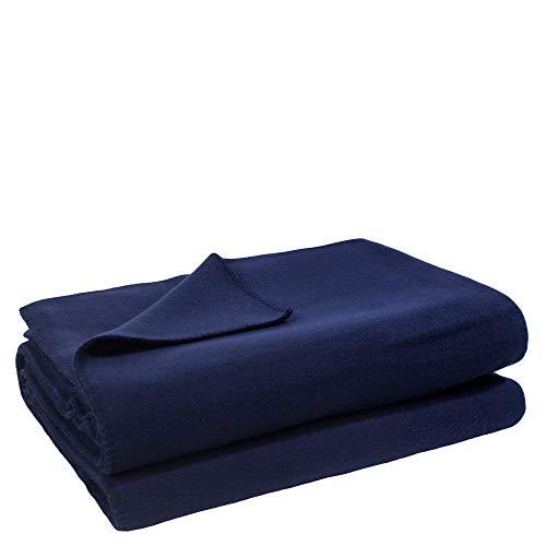 Soft-Fleece-Decke – Polarfleece-Decke mit Häkelstich – flauschige Kuscheldecke – 110x150 cm – 595 dark marina - von 'zoeppritz since 1828'