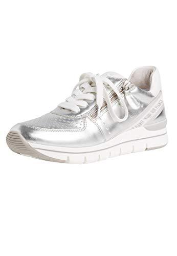 MARCO TOZZI Damen Sneaker Low Top Silber Silver Comb Vegan 2-2-23723-24 948, Groesse:36 EU