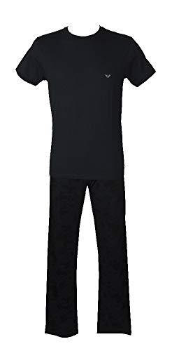 """Emporio Armani Pyjama für Männer mit kurzen Ã""""rmeln und Langen Hosen mit Rundhalsausschnitt und sichtbarem Gummiband Artikel 110853 + 111403 5P502, 00135 Marine, M"""