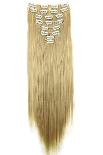 PRETTYSHOP XXL 60cm 8 teiliges SET Clip In Extensions Haarverlängerung Haarteil hitzebeständig glattblond Mischung 27T613 CES4