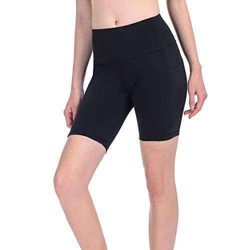 Gimdumasa Kurze Sporthose Damen Hohe Taille Leggings Blickdicht Kurz Radlerhose Laufhose Yogahose Tights mit Taschen für Damen Sport Training Gym Fitness Yoga GI371 (Schwarz, L)