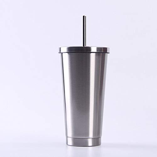 MAITAIN Taza de acero inoxidable con pajita al vacío, de 591 ml, taza de viaje al vacío, taza de comercio exterior, aislada al vacío.