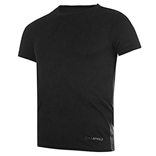 Campri Thermiques SS T-Shirt à Manches Courtes avec Logo Bas de Sport Basses - Noir - Petit