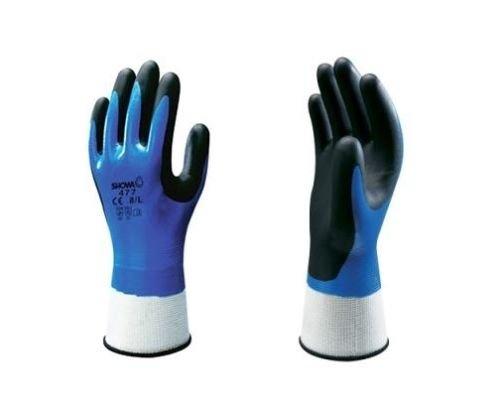Showa 477isolato in nitrile Foam grip guanto, nero/blu a doppio strato in nitrile rivestimento in spugna, antiscivolo, impermeabile e antivento, taglia: XL, One pair