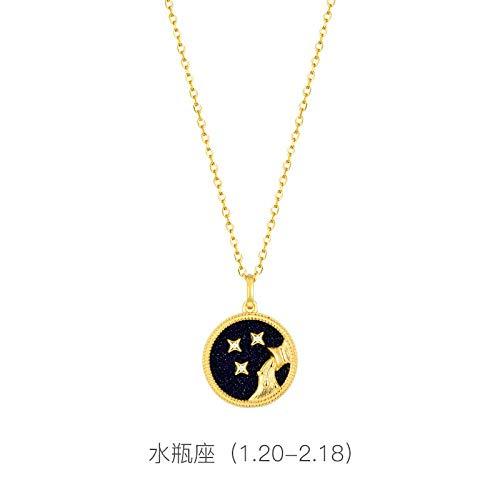 Bgpom Halskette S925 Sterling Silber Zwölf Sternbild Halskette Lila Gold Sand Halskette Schlüsselbeinkette, Wassermann