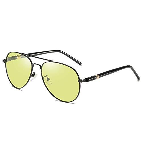 KDOAE Gafas de Sol Deportivas Clásico de la Noche Gafas de Sol contra el Azul Claro polarizadas de los Hombres Grises Vision decoloración Gafas de Sol Hombres Mujeres (Color : Black, Size : One Size)