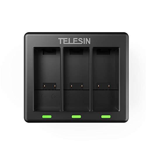 TELESIN - Caricabatteria a triplo canale per GoPro Hero 9 nero, con cavo di ricarica di tipo C a 3 canali, compatibile con batterie Gopro Hero 9 nere(Solo caricabatterie)