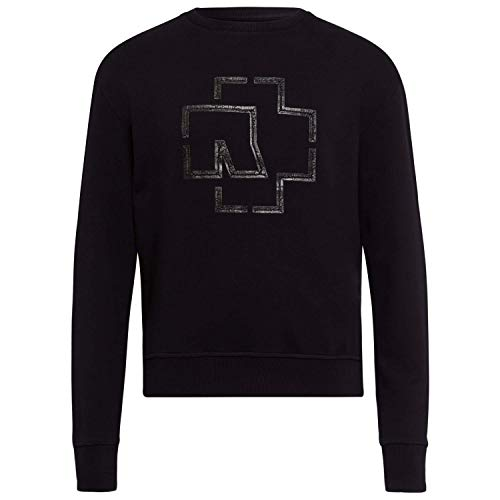 Rammstein Herren Sweater Rubber-Logo schwarz, Offizielles Band Merchandise Fan Sweater rot weiß (M)