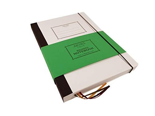 Archie's Calligraphy Notizbuch mit Gummibandverschluss, Notizheft, Tagebuch, Notebook, mit Rückentasche, Retro Design, B5 170x242 mm, 240 Seiten (120 Blatt), Kariert